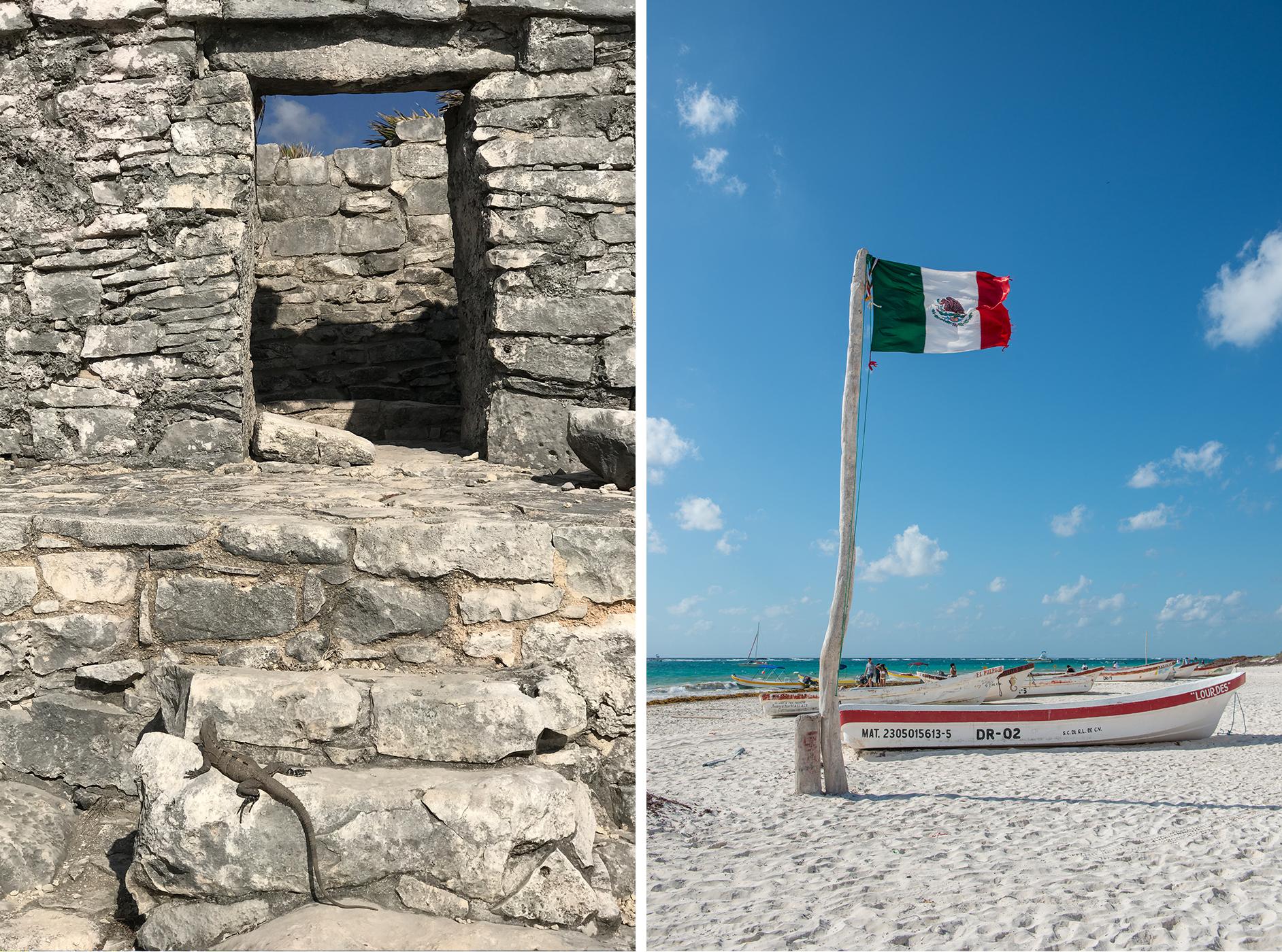 tulum ruins beach boat